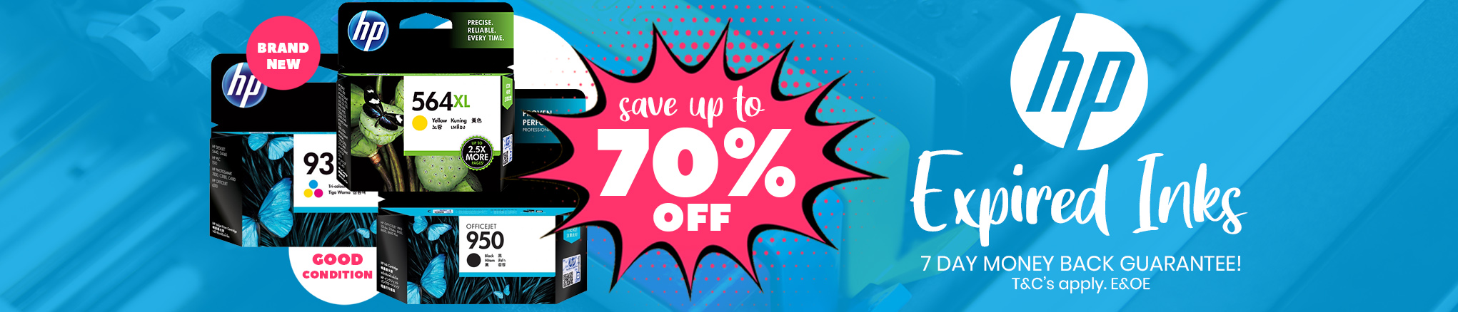 Save up to 70% off HP Expired Inks with 7 Day Money Back!
