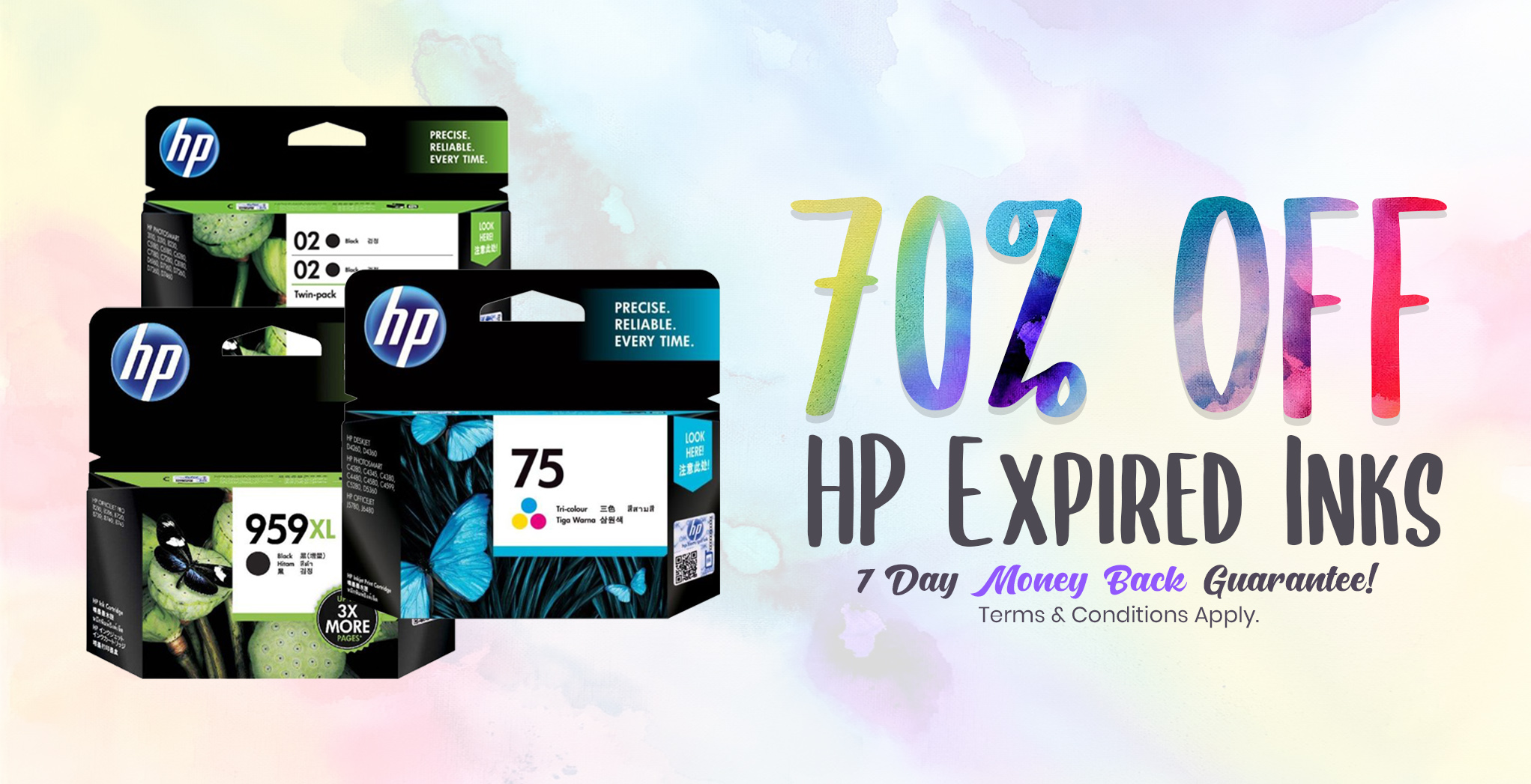 Up to 70% off Expired Genuine HP Inks