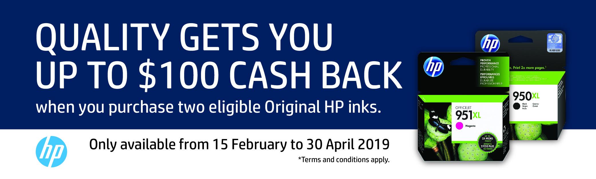 Up to $100 HP Original Ink Cash Back Promotion