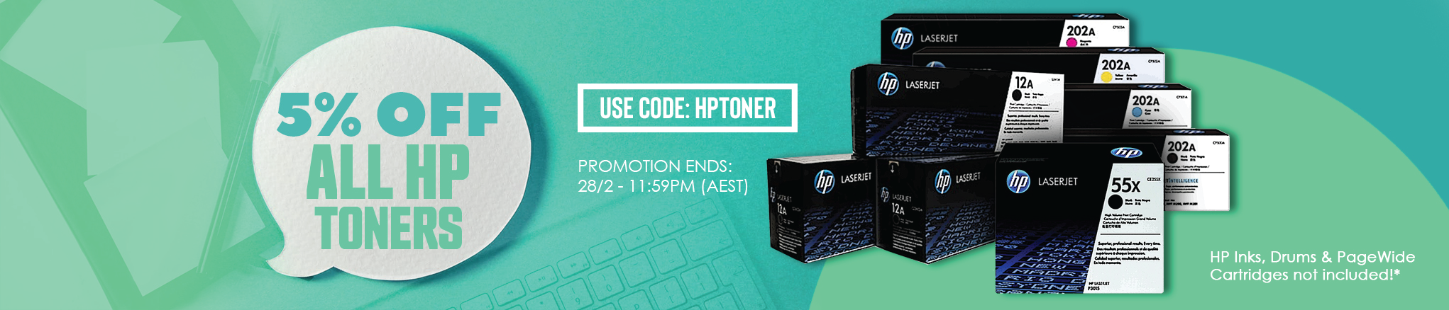 5% off all HP toners - use code HPTONER