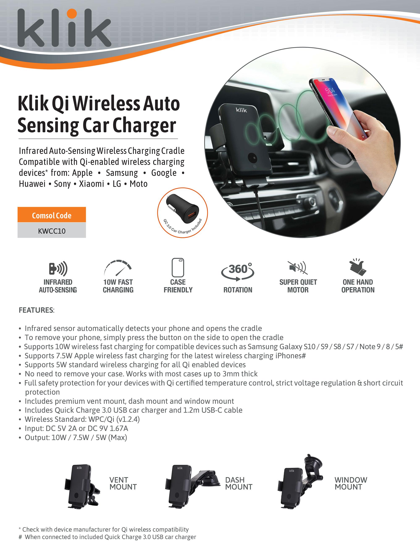 KWCC10 Comsol Klik Qi Wireless Car Charger