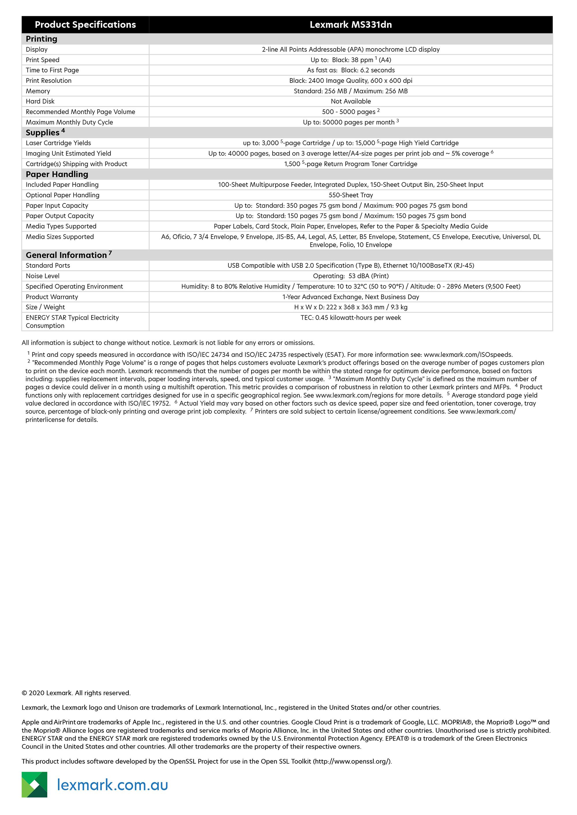 Lexmark MS331dn specs