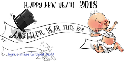 """Another Year Flies By (Plus bonus """"baby running"""" stamp without text)"""