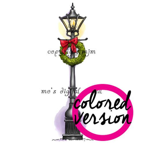 Christmas Lamp Post (Precolored)