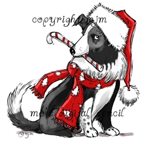 Christmas Sheepdog (with hat)