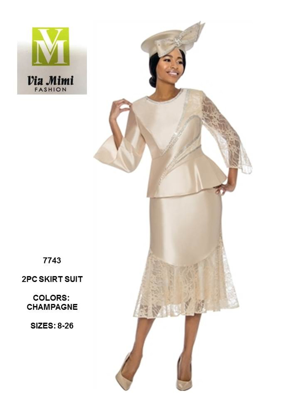 9f588c06369b6 TERRAMINA - 7743 - EMBELLISHED 2PC SKIRT SUIT - SIZES  8-26 - COLOR   CHAMPAGNE - Via Mimi Fashion