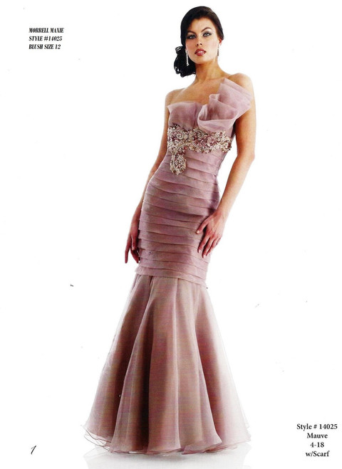 Brand Name: Morrell Maxie  Description: Long Strapples Dress  Material: 100% Polyester  Available Sizes :12,14,18  BEFORE $429.00  NOW $249.00      Please call 213-748-6464 for availability of the product and other questions and prices !