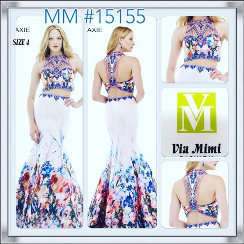BEFORE $499.00  NOW 249.00    FOR MORE IMFORMATION AND PRICE PLEASE GIVE US A CALL     WE BEAT  ALL PRICES !!!!    VIA MIMI FASHION       1333 S. SANTEE ST.    Morrell Maxie 15155     Vibrantly colored two-piece gown by Morrell Maxie     Fetching and whimsical, this two-piece Morrell Maxie 15155 gown is just the thing for a fun-filled spring or summer soiree! Its fitted, cropped sweetheart bodice is adorned with colorful arrays of sparkling accents that continue up the illusion neckline. Dramatic floral patterns liven up the fit-and-flare skirt to bring this look full circle.      LA,CA.90015   TEL: (213)748-MIMI (6464)    FAX: (213)749-MIMI (6464)      E-Mail: mimi@viamimifashion.com      https://www.facebook.com/viamimifashion       https://www.instagram.com/viamimifashion