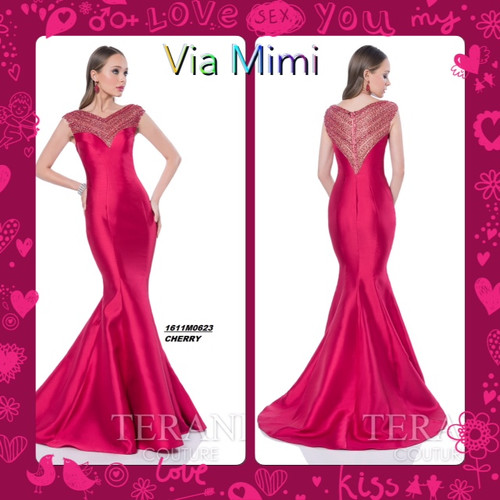Terani 1611M0623 BEFORE $499.00   NOW $269.00   Lustrous fit-and-flare dress with elaborate illusion neckline by Terani Evening     Paint the town the brightest red possible in this radiant Terani 1611M0623 Evening fit-and-flare dress! Colorful, shimmering accents add allure to the trendy illusion neckline and cap sleeves. Sectional seams break up the style of the lustrous sweetheart bodice, which segues smoothly into a skirt that flares dramatically to the floor.  FOR PRICE OR MORE IMFORMATION PLEASE GIVE US A CALL  VIA MIMI FASHION  1333 S. SANTEE ST   LA,CA.90015  TEL: (213)748-MIMI (6464)  FAX: (213)749-MIMI (6464)  E-Mail: mimi@viamimifashion.com  https://www.facebook.com/viamimifashion  https://www.instagram.com/viamimifashion  https://twitter.com/viamimifashion