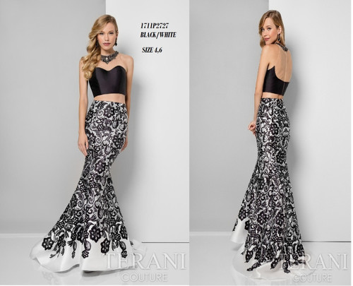 Terani 1711P2727 BEFORE $419.00        NOW $279.00   Midnight polished printed fit-n-flare from Terani Prom     Be both classy and dramatic in a contrasting gown from Terani 1711P2727 Prom. A bejeweled collar displays the illusion neckline. Satiny fabric is lined in a bandeau effect about the top. A gorgeous patterned motif flourishes about the mermaid skirt with a wide flare over your legs to a full-length hemline.  FOR MORE IMFORMATION AND PRICE PLEASE GIVE US A CALL  WE BEAT  ALL PRICES !!!!  VIA MIMI FASHION  1333 S. SANTEE ST.  LA,CA.90015  TEL: (213)748-MIMI (6464)  FAX: (213)749-MIMI (6464)  E-Mail: mimi@viamimifashion.com  https://www.facebook.com/viamimifashion    https://www.instagram.com/viamimifashion