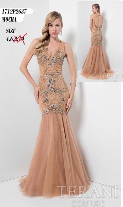 Terani 1712P2637    Luxury rosette illusion mermaid from Terani   BEFORE $399.00 NOW $229.00   Go beyond beauty in an unrivaled gown from Terani 1712P2637 Prom. Illusion fabric makes up the wide straps and turns into a plunging neckline. Detailed beading shines over the fitted bodice with webbed fabric. Layers of shirred material form a mermaid skirt into a full-length hemline at your feet.   FOR MORE IMFORMATION AND PRICE PLEASE GIVE US A CALL  WE BEAT  ALL PRICES !!!!  VIA MIMI FASHION  1333 S. SANTEE ST.  LA,CA.90015  TEL: (213)748-MIMI (6464)  FAX: (213)749-MIMI (6464)  E-Mail: mimi@viamimifashion.com  https://www.facebook.com/viamimifashion     https://www.instagram.com/viamimifashion
