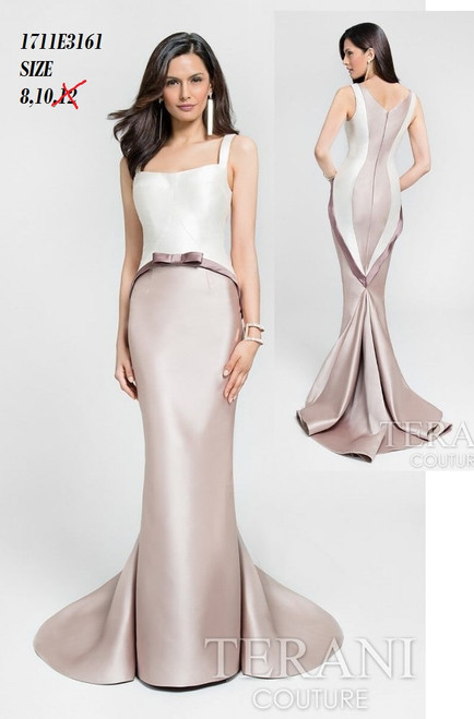 Terani 1711E3161    Shining contrasting mermaid with bowed belt from Terani   BEFORE $479.00   NOW $249.00   You`re absolutely charming in a darling gown from Terani 1711E3161. This sleeveless style features a curving neckline and glossy bodice. A waistband accent is displayed with a bow applique about your middle. The mermaid skirt is designed in a slim fit down to a flared hemline with lining that sweeps past the floor.   FOR MORE IMFORMATION AND PRICE PLEASE GIVE US A CALL  WE BEAT  ALL PRICES !!!!  VIA MIMI FASHION  1333 S. SANTEE ST.  LA,CA.90015  TEL: (213)748-MIMI (6464)  FAX: (213)749-MIMI (6464)  E-Mail: mimi@viamimifashion.com  https://www.facebook.com/viamimifashion    https://www.instagram.com/viamimifashion