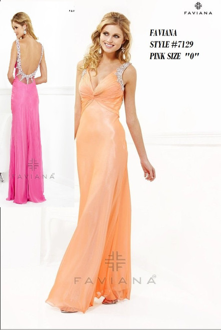 "FAVIANA STYLE 7129  COLOR : PINK  SIZE : ""0""  ONLY   BEFORE $559.00  NOW $259.00  WE BEAT ALL PRICES !!!  FRO MORE IMFORMATION PLEASE CALL US   VIA MIMI FASHION  1333 S. SANTEE ST.  LA,CA.90015  TEL: (213)748-MIMI (6464)  FAX: (213)749-MIMI (6464)  E-Mail: mimi@viamimifashion.com  WEBSITE  http://viamimifashion.com  https://www.facebook.com/viamimifashion     https://www.instagram.com/viamimifashion  https://twitter.com/viamimifashion"