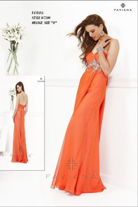 "FAVIANA STYLE 7100  COLOR : ORANGE  SIZE : ""0""  ONLY   BEFORE $459.00  NOW $249.00  WE BEAT ALL PRICES !!!  FRO MORE IMFORMATION PLEASE CALL US   VIA MIMI FASHION  1333 S. SANTEE ST.  LA,CA.90015  TEL: (213)748-MIMI (6464)  FAX: (213)749-MIMI (6464)  E-Mail: mimi@viamimifashion.com  WEBSITE  http://viamimifashion.com  https://www.facebook.com/viamimifashion     https://www.instagram.com/viamimifashion  https://twitter.com/viamimifashion"