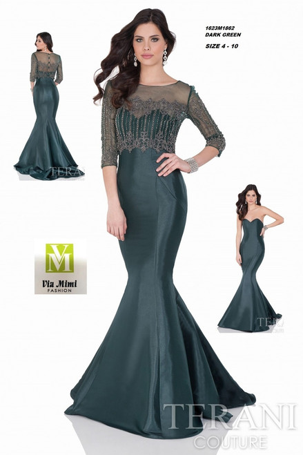 TERANI 1623M1862  DARK GREEN SIZE 4-10 ONLY !!!  FOR MORE IMFORMATION AND PRICE PLEASE GIVE US A CALL   WE BEAT  ALL PRICES !!!!  VIA MIMI FASHION  1333 S. SANTEE ST.  LA,CA.90015  TEL: (213)748-MIMI (6464)  FAX: (213)749-MIMI (6464)  E-Mail: mimi@viamimifashion.com  http://viamimifashion.com  https://www.facebook.com/viamimifashion    https://www.instagram.com/viamimifashion  https://twitter.com/viamimifashion