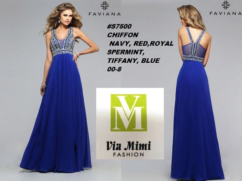 FAVIANA STYLE #7700 MIKADO    SIZE : 00-8  COLOR: NAVY, RED, ROYAL, SPEARMINT, TIFFANY , BLUE  FOR MORE IMFORMATION AND PRICE PLEASE GIVE US A CALL   WE BEAT  ALL PRICES !!!!  VIA MIMI FASHION  1333 S. SANTEE ST.  LA,CA.90015  TEL: (213)748-MIMI (6464)  FAX: (213)749-MIMI (6464)  E-Mail: mimi@viamimifashion.com  http://viamimifashion.com  https://www.facebook.com/viamimifashion    https://www.instagram.com/viamimifashion  https://twitter.com/viamimifashion