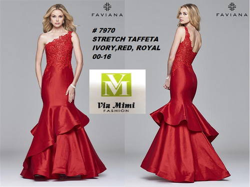 FAVIANA STYLE # 7970 STRETCH TAFFETA   SIZE : 00-16  COLOR: IVORY, RED, ROYAL  FOR MORE IMFORMATION AND PRICE PLEASE GIVE US A CALL   WE BEAT  ALL PRICES !!!!  VIA MIMI FASHION  1333 S. SANTEE ST.  LA,CA.90015  TEL: (213)748-MIMI (6464)  FAX: (213)749-MIMI (6464)  E-Mail: mimi@viamimifashion.com  http://viamimifashion.com  https://www.facebook.com/viamimifashion    https://www.instagram.com/viamimifashion  https://twitter.com/viamimifashion