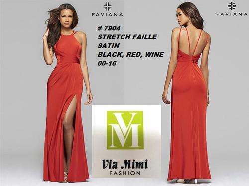 FAVIANA STYLE #7904 STRETCH FAILLE SATIN   SIZE : 00-16  COLOR: BLACK, RED, WINE  FOR MORE IMFORMATION AND PRICE PLEASE GIVE US A CALL   WE BEAT  ALL PRICES !!!!  VIA MIMI FASHION  1333 S. SANTEE ST.  LA,CA.90015  TEL: (213)748-MIMI (6464)  FAX: (213)749-MIMI (6464)  E-Mail: mimi@viamimifashion.com  http://viamimifashion.com  https://www.facebook.com/viamimifashion    https://www.instagram.com/viamimifashion  https://twitter.com/viamimifashion