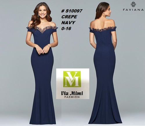 FAVIANA STYLE #S10097  CREPE   SIZE : 00-16  COLOR: NAVY  FOR MORE IMFORMATION AND PRICE PLEASE GIVE US A CALL   WE BEAT  ALL PRICES !!!!  VIA MIMI FASHION  1333 S. SANTEE ST.  LA,CA.90015  TEL: (213)748-MIMI (6464)  FAX: (213)749-MIMI (6464)  E-Mail: mimi@viamimifashion.com  http://viamimifashion.com  https://www.facebook.com/viamimifashion    https://www.instagram.com/viamimifashion  https://twitter.com/viamimifashion