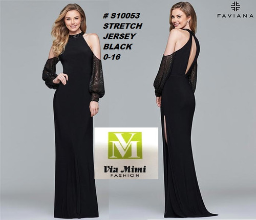 FAVIANA STYLE #S10053  STRETCH  JERSEY   SIZE : 00-16  COLOR: BLACK  FOR MORE IMFORMATION AND PRICE PLEASE GIVE US A CALL   WE BEAT  ALL PRICES !!!!  VIA MIMI FASHION  1333 S. SANTEE ST.  LA,CA.90015  TEL: (213)748-MIMI (6464)  FAX: (213)749-MIMI (6464)  E-Mail: mimi@viamimifashion.com  http://viamimifashion.com  https://www.facebook.com/viamimifashion    https://www.instagram.com/viamimifashion  https://twitter.com/viamimifashion
