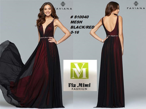 FAVIANA STYLE #S10040 MESH   SIZE : 00-16  COLOR: BLACK/RED  FOR MORE IMFORMATION AND PRICE PLEASE GIVE US A CALL   WE BEAT  ALL PRICES !!!!  VIA MIMI FASHION  1333 S. SANTEE ST.  LA,CA.90015  TEL: (213)748-MIMI (6464)  FAX: (213)749-MIMI (6464)  E-Mail: mimi@viamimifashion.com  http://viamimifashion.com  https://www.facebook.com/viamimifashion    https://www.instagram.com/viamimifashion  https://twitter.com/viamimifashion