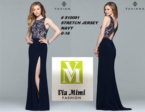 FAVIANA STYLE #S10091 STRETCH JERSEY   SIZE : 00-16  COLOR: NAVY  FOR MORE IMFORMATION AND PRICE PLEASE GIVE US A CALL   WE BEAT  ALL PRICES !!!!  VIA MIMI FASHION  1333 S. SANTEE ST.  LA,CA.90015  TEL: (213)748-MIMI (6464)  FAX: (213)749-MIMI (6464)  E-Mail: mimi@viamimifashion.com  http://viamimifashion.com  https://www.facebook.com/viamimifashion    https://www.instagram.com/viamimifashion  https://twitter.com/viamimifashion