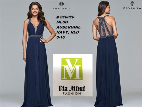 FAVIANA STYLE #S10018  MESH   SIZE : 00-16  COLOR: NAVY, RED, AUBERGINE  FOR MORE IMFORMATION AND PRICE PLEASE GIVE US A CALL   WE BEAT  ALL PRICES !!!!  VIA MIMI FASHION  1333 S. SANTEE ST.  LA,CA.90015  TEL: (213)748-MIMI (6464)  FAX: (213)749-MIMI (6464)  E-Mail: mimi@viamimifashion.com  http://viamimifashion.com  https://www.facebook.com/viamimifashion    https://www.instagram.com/viamimifashion  https://twitter.com/viamimifashion