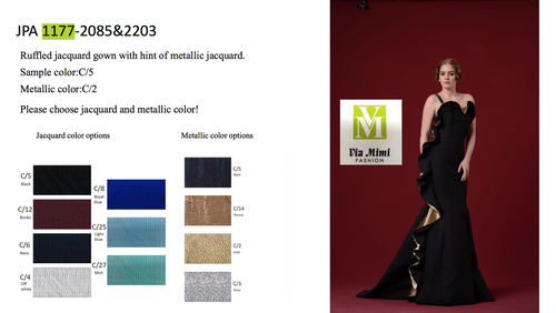 JOHN PAUL ATAKER STYLE #JPA1177  RUFFLED JACQUARD GOWN WITH HINT OF METALLIC JACQUARD  PICTURE COLOR: C/5   METALLIC JACQUARD C/2  SIZE : 0 TO 16  FOR MORE IMFORMATION AND PRICE PLEASE GIVE US A CALL   WE BEAT  ALL PRICES !!!!  VIA MIMI FASHION  1333 S. SANTEE ST.  LA,CA.90015  TEL: (213)748-MIMI (6464)  FAX: (213)749-MIMI (6464)  E-Mail: mimi@viamimifashion.com  http://viamimifashion.com  https://www.facebook.com/viamimifashion    https://www.instagram.com/viamimifashion  https://twitter.com/viamimifashion