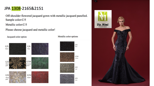 JOHN PAUL ATAKER STYLE #JPA1308  OFF-SHOULDER FLOWERED JACQUARD GOWN WITH METALLIC JACQUARD PANELLED  PICTURE COLOR: C/5     METALLIC COLOR: C/5  SIZE : 0 TO 16  FOR MORE IMFORMATION AND PRICE PLEASE GIVE US A CALL   WE BEAT  ALL PRICES !!!!  VIA MIMI FASHION  1333 S. SANTEE ST.  LA,CA.90015  TEL: (213)748-MIMI (6464)  FAX: (213)749-MIMI (6464)  E-Mail: mimi@viamimifashion.com  http://viamimifashion.com  https://www.facebook.com/viamimifashion    https://www.instagram.com/viamimifashion  https://twitter.com/viamimifashion