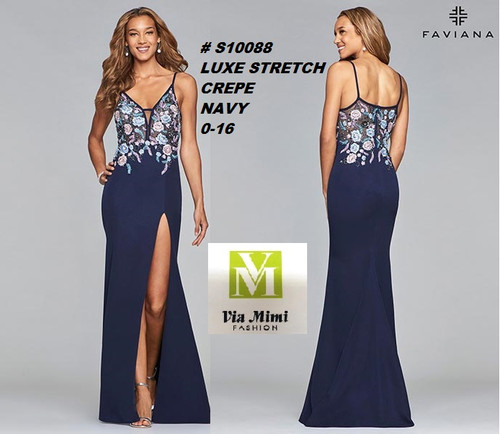 FAVIANA STYLE #10088  LUXE  STRETCH CREPE   SIZE : 00-16  COLOR: NAVY  FOR MORE IMFORMATION AND PRICE PLEASE GIVE US A CALL   WE BEAT  ALL PRICES !!!!  VIA MIMI FASHION  1333 S. SANTEE ST.  LA,CA.90015  TEL: (213)748-MIMI (6464)  FAX: (213)749-MIMI (6464)  E-Mail: mimi@viamimifashion.com  http://viamimifashion.com  https://www.facebook.com/viamimifashion    https://www.instagram.com/viamimifashion  https://twitter.com/viamimifashion