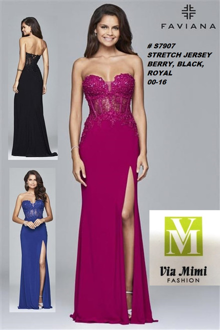 FAVIANA STYLE #S7907  STRETCH JERSEY    SIZE : 00-16  COLOR: BLACK, ROYAL, BERRY  FOR MORE IMFORMATION AND PRICE PLEASE GIVE US A CALL   WE BEAT  ALL PRICES !!!!  VIA MIMI FASHION  1333 S. SANTEE ST.  LA,CA.90015  TEL: (213)748-MIMI (6464)  FAX: (213)749-MIMI (6464)  E-Mail: mimi@viamimifashion.com  http://viamimifashion.com  https://www.facebook.com/viamimifashion    https://www.instagram.com/viamimifashion  https://twitter.com/viamimifashion