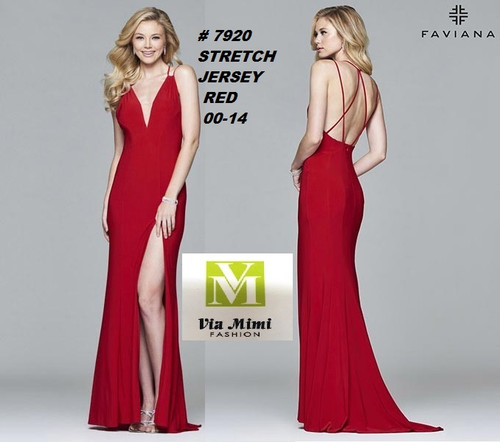 FAVIANA STYLE #7920  STRETCH JERSEY   SIZE : 00-14  COLOR: RED  FOR MORE IMFORMATION AND PRICE PLEASE GIVE US A CALL   WE BEAT  ALL PRICES !!!!  VIA MIMI FASHION  1333 S. SANTEE ST.  LA,CA.90015  TEL: (213)748-MIMI (6464)  FAX: (213)749-MIMI (6464)  E-Mail: mimi@viamimifashion.com  http://viamimifashion.com  https://www.facebook.com/viamimifashion    https://www.instagram.com/viamimifashion  https://twitter.com/viamimifashion