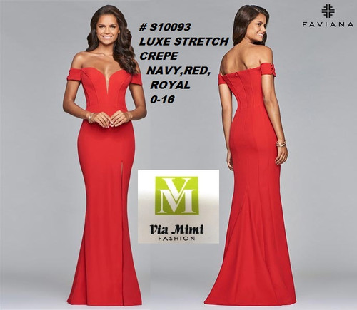 FAVIANA STYLE #S10093 LUXE STRETCH CREPE   SIZE : 00-16  COLOR: NAVY, RED, ROYAL  FOR MORE IMFORMATION AND PRICE PLEASE GIVE US A CALL   WE BEAT  ALL PRICES !!!!  VIA MIMI FASHION  1333 S. SANTEE ST.  LA,CA.90015  TEL: (213)748-MIMI (6464)  FAX: (213)749-MIMI (6464)  E-Mail: mimi@viamimifashion.com  http://viamimifashion.com  https://www.facebook.com/viamimifashion    https://www.instagram.com/viamimifashion  https://twitter.com/viamimifashion