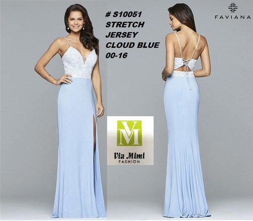 FAVIANA STYLE #S10051 STRETCH JERSEY   SIZE : 00-16  COLOR: CLOUD BLUE  FOR MORE IMFORMATION AND PRICE PLEASE GIVE US A CALL   WE BEAT  ALL PRICES !!!!  VIA MIMI FASHION  1333 S. SANTEE ST.  LA,CA.90015  TEL: (213)748-MIMI (6464)  FAX: (213)749-MIMI (6464)  E-Mail: mimi@viamimifashion.com  http://viamimifashion.com  https://www.facebook.com/viamimifashion    https://www.instagram.com/viamimifashion  https://twitter.com/viamimifashion
