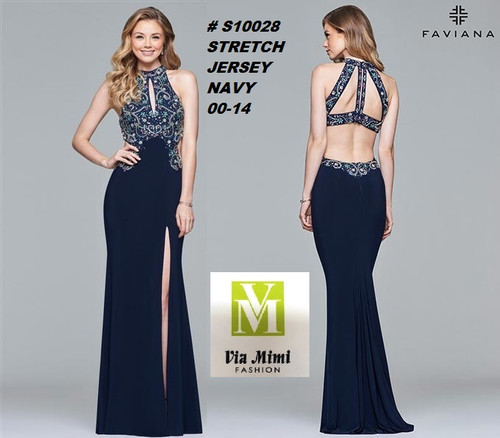 FAVIANA STYLE #S10028 STRETCH JERSEY   SIZE : 00-14  COLOR: NAVY  FOR MORE IMFORMATION AND PRICE PLEASE GIVE US A CALL   WE BEAT  ALL PRICES !!!!  VIA MIMI FASHION  1333 S. SANTEE ST.  LA,CA.90015  TEL: (213)748-MIMI (6464)  FAX: (213)749-MIMI (6464)  E-Mail: mimi@viamimifashion.com  http://viamimifashion.com  https://www.facebook.com/viamimifashion    https://www.instagram.com/viamimifashion  https://twitter.com/viamimifashion