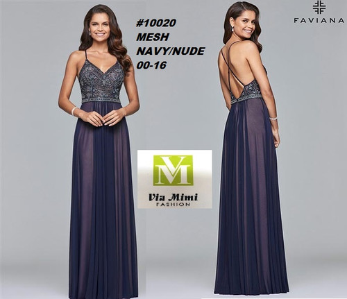 FAVIANA STYLE #10020 MESH   SIZE : 00-16  COLOR: NAVY/NUDE  FOR MORE IMFORMATION AND PRICE PLEASE GIVE US A CALL   WE BEAT  ALL PRICES !!!!  VIA MIMI FASHION  1333 S. SANTEE ST.  LA,CA.90015  TEL: (213)748-MIMI (6464)  FAX: (213)749-MIMI (6464)  E-Mail: mimi@viamimifashion.com  http://viamimifashion.com  https://www.facebook.com/viamimifashion    https://www.instagram.com/viamimifashion  https://twitter.com/viamimifashion
