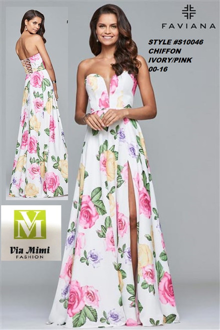 FAVIANA STYLE #S10046 SHIFFON    SIZE : 00-16  COLOR: IVORY/ PINK   FOR MORE IMFORMATION AND PRICE PLEASE GIVE US A CALL   WE BEAT  ALL PRICES !!!!  VIA MIMI FASHION  1333 S. SANTEE ST.  LA,CA.90015  TEL: (213)748-MIMI (6464)  FAX: (213)749-MIMI (6464)  E-Mail: mimi@viamimifashion.com  http://viamimifashion.com  https://www.facebook.com/viamimifashion    https://www.instagram.com/viamimifashion  https://twitter.com/viamimifashion