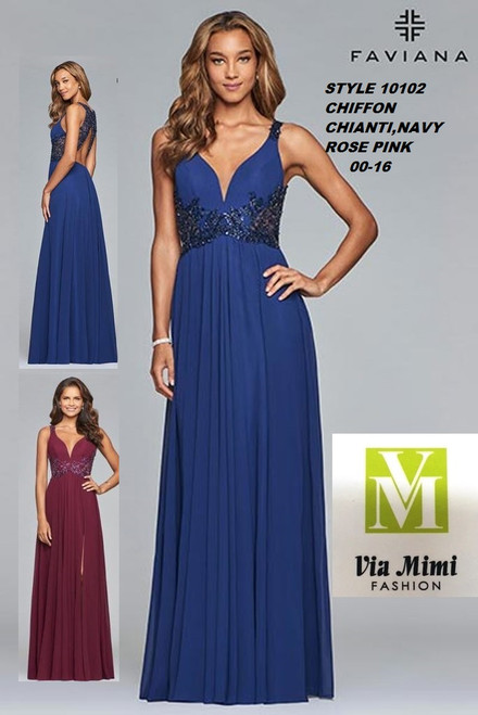 FAVIANA STYLE #10102  CHIFFON   SIZE : 00-16  COLOR: CHIANTI, NAVY, ROSE PINK  FOR MORE IMFORMATION AND PRICE PLEASE GIVE US A CALL   WE BEAT  ALL PRICES !!!!  VIA MIMI FASHION  1333 S. SANTEE ST.  LA,CA.90015  TEL: (213)748-MIMI (6464)  FAX: (213)749-MIMI (6464)  E-Mail: mimi@viamimifashion.com  http://viamimifashion.com  https://www.facebook.com/viamimifashion    https://www.instagram.com/viamimifashion  https://twitter.com/viamimifashion