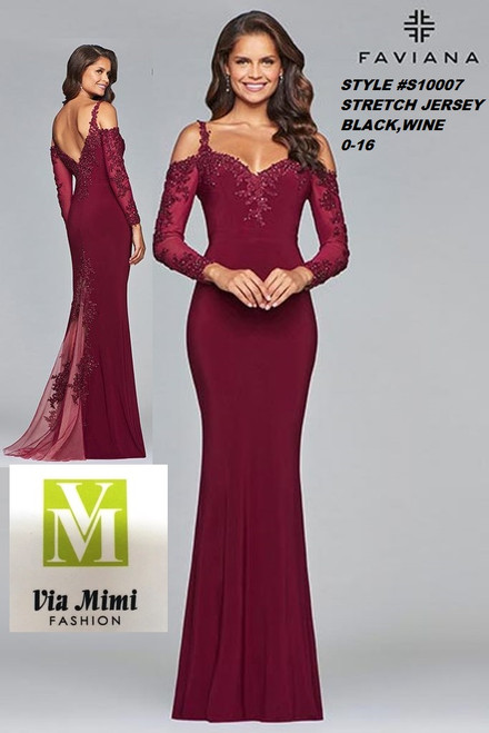 FAVIANA STYLE #S10007  STRETCH JERSEY   SIZE : 00-16  COLOR: BLACK, WINE  FOR MORE IMFORMATION AND PRICE PLEASE GIVE US A CALL   WE BEAT  ALL PRICES !!!!  VIA MIMI FASHION  1333 S. SANTEE ST.  LA,CA.90015  TEL: (213)748-MIMI (6464)  FAX: (213)749-MIMI (6464)  E-Mail: mimi@viamimifashion.com  http://viamimifashion.com  https://www.facebook.com/viamimifashion    https://www.instagram.com/viamimifashion  https://twitter.com/viamimifashion