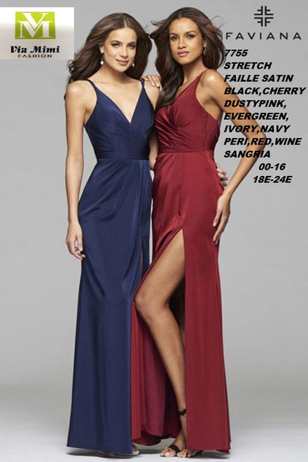 FAVIANA STYLE #7755  STRETCH FAILLE SATIN   SIZE : 00-16 / 18E-24E  COLOR:BLACK, CHERRY PINK, DUSTY PINK, EVERGREEN, IVORY, NAVY, PERI, RED, SANGRIA, WINE  FOR MORE IMFORMATION AND PRICE PLEASE GIVE US A CALL   WE BEAT  ALL PRICES !!!!  VIA MIMI FASHION  1333 S. SANTEE ST.  LA,CA.90015  TEL: (213)748-MIMI (6464)  FAX: (213)749-MIMI (6464)  E-Mail: mimi@viamimifashion.com  http://viamimifashion.com  https://www.facebook.com/viamimifashion    https://www.instagram.com/viamimifashion  https://twitter.com/viamimifashion