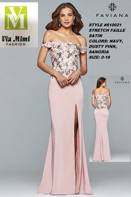 FAVIANA STYLE #S10021 STRETCH FAILLE SATIN   SIZE : 00-16  COLOR: NAVY, SANGRIA, DUSTY PINK  FOR MORE IMFORMATION AND PRICE PLEASE GIVE US A CALL   WE BEAT  ALL PRICES !!!!  VIA MIMI FASHION  1333 S. SANTEE ST.  LA,CA.90015  TEL: (213)748-MIMI (6464)  FAX: (213)749-MIMI (6464)  E-Mail: mimi@viamimifashion.com  http://viamimifashion.com  https://www.facebook.com/viamimifashion    https://www.instagram.com/viamimifashion  https://twitter.com/viamimifashion