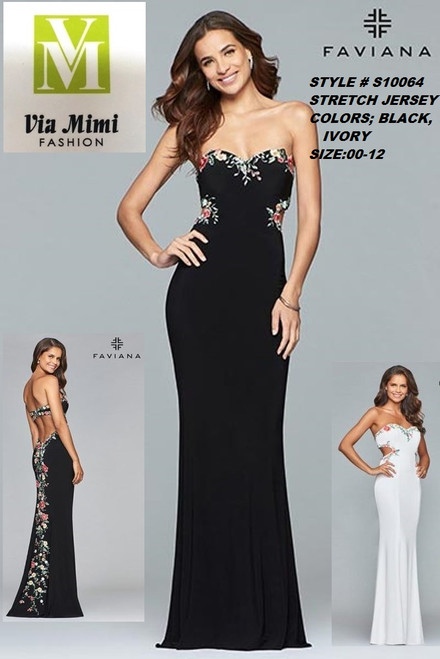 FAVIANA STYLE #S10064 STRETCH JERSEY   SIZE : 00-12  COLOR: BLACK, IVORY  FOR MORE IMFORMATION AND PRICE PLEASE GIVE US A CALL   WE BEAT  ALL PRICES !!!!  VIA MIMI FASHION  1333 S. SANTEE ST.  LA,CA.90015  TEL: (213)748-MIMI (6464)  FAX: (213)749-MIMI (6464)  E-Mail: mimi@viamimifashion.com  http://viamimifashion.com  https://www.facebook.com/viamimifashion    https://www.instagram.com/viamimifashion  https://twitter.com/viamimifashion