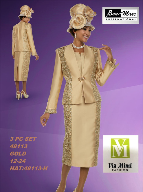 BEN MARC STYLE #48113  3 PC SET  COLOR: GOLD  SIZE : 12-24  HAT: 48113-H  FOR MORE IMFORMATION AND PRICE PLEASE GIVE US A CALL   WE BEAT  ALL PRICES !!!!  VIA MIMI FASHION  1333 S. SANTEE ST.  LA,CA.90015  TEL: (213)748-MIMI (6464)  FAX: (213)749-MIMI (6464)  E-Mail: mimi@viamimifashion.com  http://viamimifashion.com  https://www.facebook.com/viamimifashion    https://www.instagram.com/viamimifashion  https://twitter.com/viamimifashion