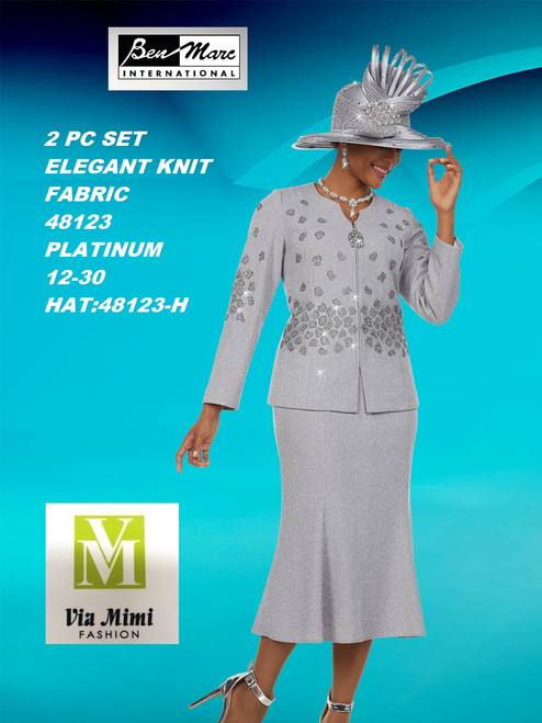 BEN MARC STYLE #48123  2 PC KNIT  SET  COLOR: PLATINUM   SIZE :12-30  HAT: 48123-H  FOR MORE IMFORMATION AND PRICE PLEASE GIVE US A CALL   WE BEAT  ALL PRICES !!!!  VIA MIMI FASHION  1333 S. SANTEE ST.  LA,CA.90015  TEL: (213)748-MIMI (6464)  FAX: (213)749-MIMI (6464)  E-Mail: mimi@viamimifashion.com  http://viamimifashion.com  https://www.facebook.com/viamimifashion    https://www.instagram.com/viamimifashion  https://twitter.com/viamimifashion