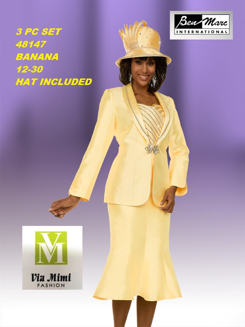BEN MARC STYLE #48147  3 PC   SET  COLOR: BANANA   SIZE : 12-30  HAT: INCLUDED  FOR MORE IMFORMATION AND PRICE PLEASE GIVE US A CALL   WE BEAT  ALL PRICES !!!!  VIA MIMI FASHION  1333 S. SANTEE ST.  LA,CA.90015  TEL: (213)748-MIMI (6464)  FAX: (213)749-MIMI (6464)  E-Mail: mimi@viamimifashion.com  http://viamimifashion.com  https://www.facebook.com/viamimifashion    https://www.instagram.com/viamimifashion  https://twitter.com/viamimifashion