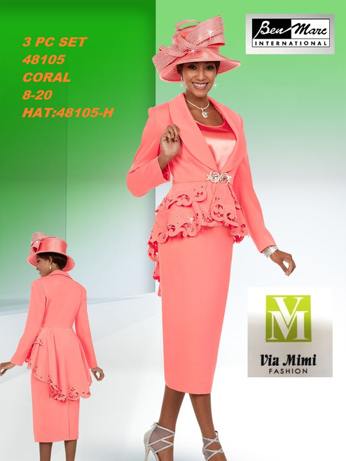 BEN MARC STYLE #48105  3 PC   SET  COLOR: CORAL  SIZE : 8-20  HAT: 48105-H  FOR MORE IMFORMATION AND PRICE PLEASE GIVE US A CALL   WE BEAT  ALL PRICES !!!!  VIA MIMI FASHION  1333 S. SANTEE ST.  LA,CA.90015  TEL: (213)748-MIMI (6464)  FAX: (213)749-MIMI (6464)  E-Mail: mimi@viamimifashion.com  http://viamimifashion.com  https://www.facebook.com/viamimifashion    https://www.instagram.com/viamimifashion  https://twitter.com/viamimifashion