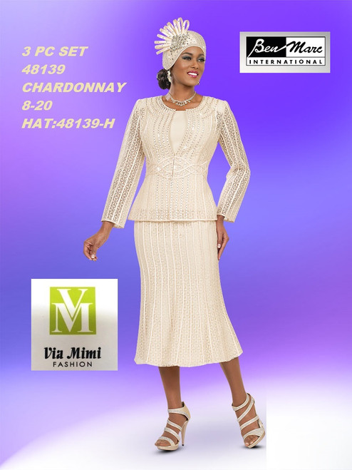 BEN MARC STYLE #48139  3 PC   SET  COLOR: CHARDONNAY  SIZE :8-20  HAT: 48139-H  FOR MORE IMFORMATION AND PRICE PLEASE GIVE US A CALL   WE BEAT  ALL PRICES !!!!  VIA MIMI FASHION  1333 S. SANTEE ST.  LA,CA.90015  TEL: (213)748-MIMI (6464)  FAX: (213)749-MIMI (6464)  E-Mail: mimi@viamimifashion.com  http://viamimifashion.com  https://www.facebook.com/viamimifashion    https://www.instagram.com/viamimifashion  https://twitter.com/viamimifashion