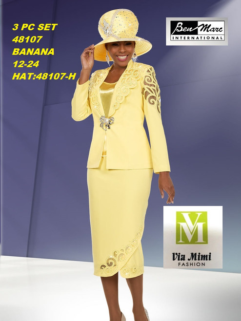 BEN MARC STYLE #48107  3 PC   SET  COLOR: BANANA   SIZE : 12-24  HAT: 48107-H  FOR MORE IMFORMATION AND PRICE PLEASE GIVE US A CALL   WE BEAT  ALL PRICES !!!!  VIA MIMI FASHION  1333 S. SANTEE ST.  LA,CA.90015  TEL: (213)748-MIMI (6464)  FAX: (213)749-MIMI (6464)  E-Mail: mimi@viamimifashion.com  http://viamimifashion.com  https://www.facebook.com/viamimifashion    https://www.instagram.com/viamimifashion  https://twitter.com/viamimifashion