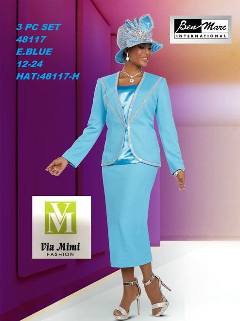 BEN MARC STYLE #48117  3 PC   SET  COLOR: E. BLUE  SIZE : 12-24  HAT: 48117-H  FOR MORE IMFORMATION AND PRICE PLEASE GIVE US A CALL   WE BEAT  ALL PRICES !!!!  VIA MIMI FASHION  1333 S. SANTEE ST.  LA,CA.90015  TEL: (213)748-MIMI (6464)  FAX: (213)749-MIMI (6464)  E-Mail: mimi@viamimifashion.com  http://viamimifashion.com  https://www.facebook.com/viamimifashion    https://www.instagram.com/viamimifashion  https://twitter.com/viamimifashion