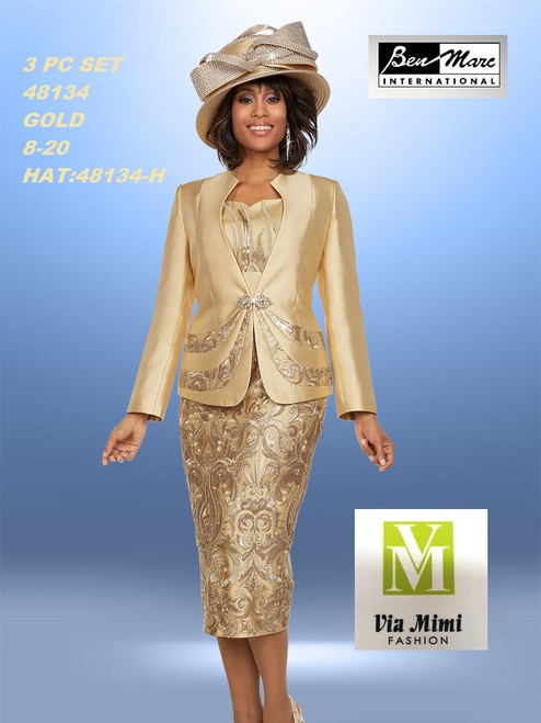 BEN MARC STYLE #48134  3 PC   SET  COLOR: GOLD   SIZE : 8-20  HAT: 48134-H  FOR MORE IMFORMATION AND PRICE PLEASE GIVE US A CALL   WE BEAT  ALL PRICES !!!!  VIA MIMI FASHION  1333 S. SANTEE ST.  LA,CA.90015  TEL: (213)748-MIMI (6464)  FAX: (213)749-MIMI (6464)  E-Mail: mimi@viamimifashion.com  http://viamimifashion.com  https://www.facebook.com/viamimifashion    https://www.instagram.com/viamimifashion  https://twitter.com/viamimifashion